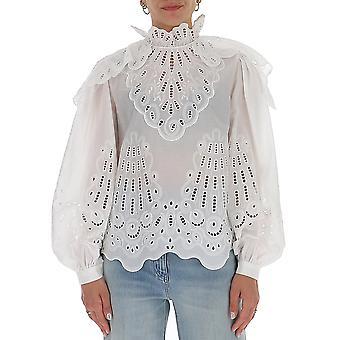 Alberta Ferretti 02180155a0001 Mujer's Blusa de Algodón Blanco