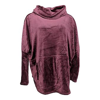 Anybody Women's Sweater Velour Oversized Cowl Pullover Purple A345454 PTC