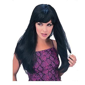 Glamour negro con flecos Deluxe cabello largo las mujeres negro Traje peluca