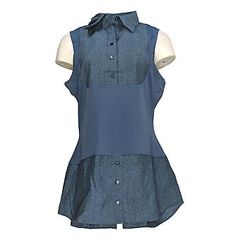 Kathleen Kirkwood Women's Dictrac-Ease Chambray Shirttail Top Blue A311148