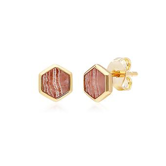 Micro Statement Rhodochrosite Hexagon Stud Earrings in Gold Plated Sterling Silver 270E027601925