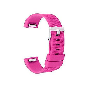 Watch strap for fitbit charge hot pink silicone rubber sizes small and large