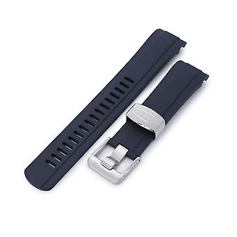 Strapcode rubber watch strap 22mm crafter blue - cb10 blue rubber curved lug for seiko skx007