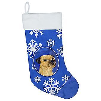 Border Terrier vinter snefnug snefnug ferie Christmas strømpe