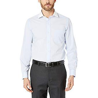 "BUTTONED DOWN Men's Tailored Fit Stretch Poplin Non-Iron Dress Shirt, Light Blue/White Collar, 17.5"" Neck 37"" Sleeve"
