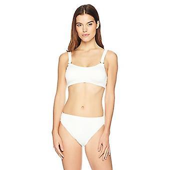 Brand - Mae Women's Swimwear Ribbed Bikini Bottom (for A-C cups),Cream...