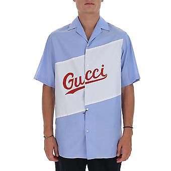 Gucci 619033zaen34990 Men's Light Blue Katoen Shirt