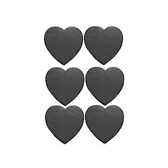 6pcs Herz natürliche Schiefer Tisch Matte Schwarz 10x10cm