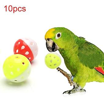 Pet Parrot Toy Colorful Hollow Rolling Bell Ball Bird Toy Parakeet Cockatiel Parrot Chew Cage Fun Toys