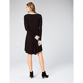 Marke - Tägliche Ritual Frauen's Jersey Langarm V-Ausschnitt Kleid, schwarz, X-Small