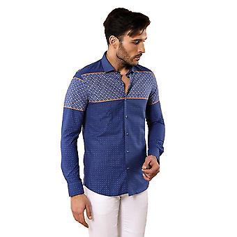 Blå mönstrad män's skjorta | wessi