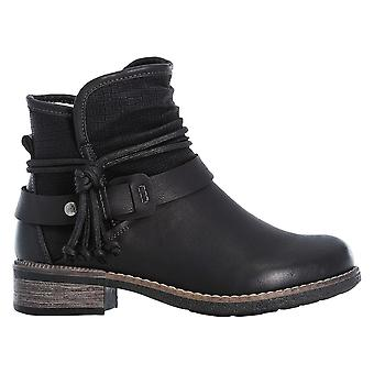 Rieker Black Pull On Ankle Boot With Wrap Around Buckle Detail