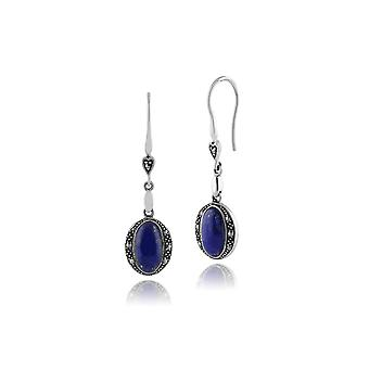 Art Deco Style Oval Lapis Lazuli Cabochon & Marcasite Drop Earrings in 925 Sterling Silver 214E824904925