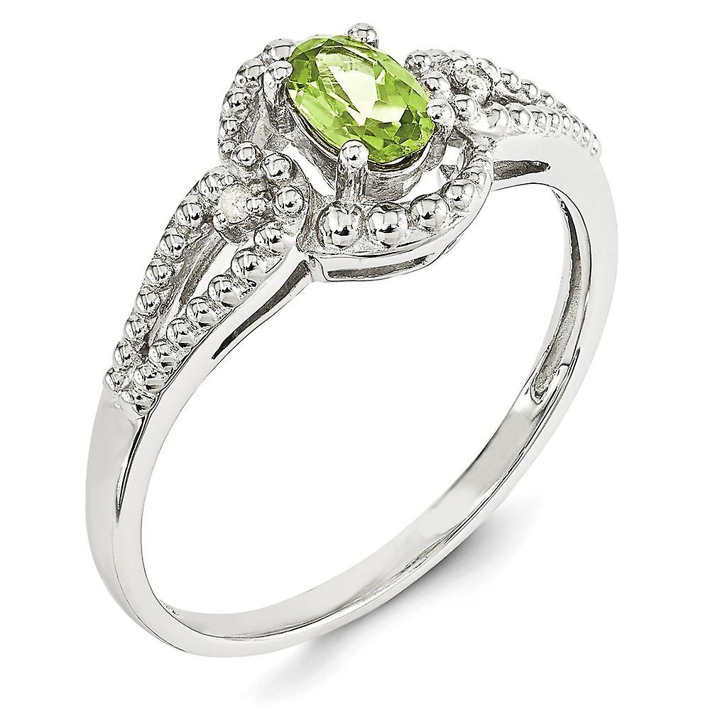 Billig Fantastisk pris 925 Sterling Silver Polished Open back Rhodium plated Peridot and Diamond Ring Jewelry Gifts for Women - Ring Size: 6 to sriEM