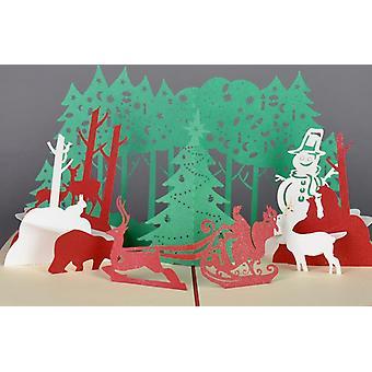 اليدوية 3D البوب حتى عيد الفصح عيد الميلاد الفرح بطاقات المعايدة - زلاجات عيد الميلاد
