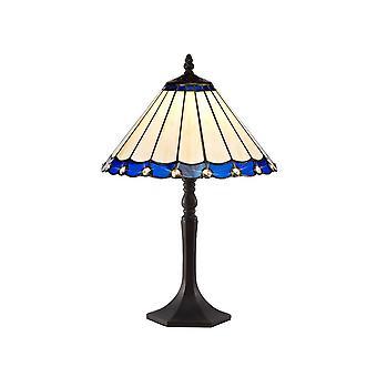 1 lampada da tavolo ottagonale leggera E27 con 30cm Tiffany Shade, Blu, Cristallo, Ottone Antico Invecchiato