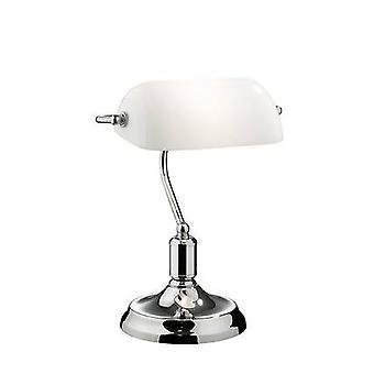 1 lichte bankerlamp chroom met witte glazen tint, E27