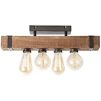 BRILLIANT Lamp Woodhill Plafondlamp 4flg Antiek/Zwart   4x A60, E27, 30W, g.v. normale lampen n. ent.   Voor LED-lampen