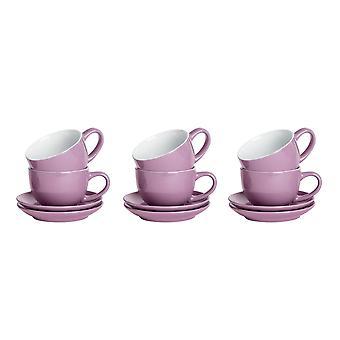 12 piezas de la taza de capuchino de color y platillo de salsa - té de porcelana de estilo moderno y tazas de café - púrpura - 250ml