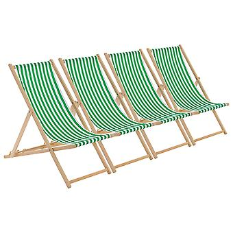 Traditional Adjustable Garden / Beach-style Deck Chair - Green / White Stripe - Pack of 4