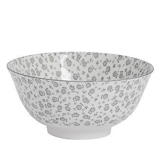 Nicola Spring Daisy Patterned Cereal Bowl - Porcelain Breakfast Dessert Serving Dish - Grey - 16cm