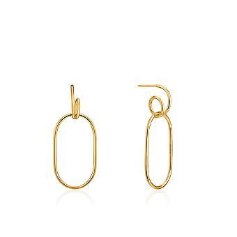 Ania Haie Ear We Go Shiny Gold Spiral Oval Hoop Earrings E023-16G