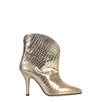 Paris Texas Px178clmetalliccrocogold Women's Gold Leather Ankle Boots