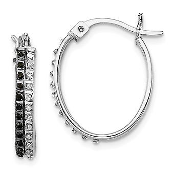 925 Sterling Silver Polished Gift Boxed and Platinum plated B And W Diamond Mystique Oval Hinged Hoop Earrings Zzzzs R J