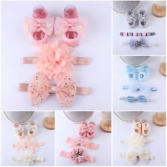 Accesorios para bebés + calcetines, bebé recién nacido, zapatos antideslizantes