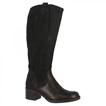 Leonardo Schuhe Frauen's handgemachte quadratische Fersen kniehohe Stiefel aus schwarzem Kalbsleder mit seitlichem Reißverschluss