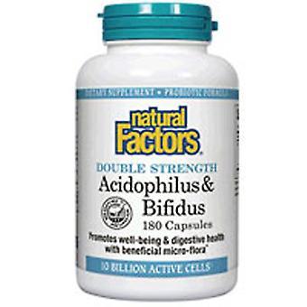 Natuurlijke factoren dubbele sterkte Acidophilus & Bifidus, 90 Caps
