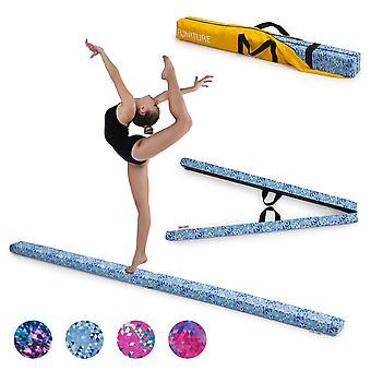 Turkosblå geometrisk gymnastik Fällbar balans Beam 2.1M Faux Mocka Gym Träningsutrustning