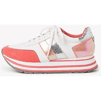 Weiß orange flache Schuhe