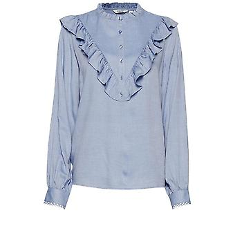 b.young Faustine Blue Frill Bluza