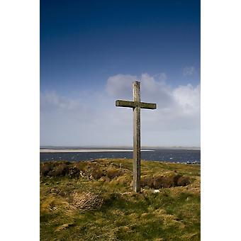 Grave Site Marked By A Cross On A Hill PosterPrint