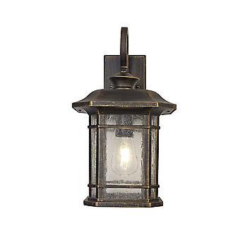 Aurelia Large Wall Lamp, 1 X E27, Brushed Black Gold/seeded Glass, Ip54, 2yrs Warranty