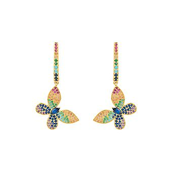 Multicoloured Rainbow Yellow Pink Blue Green Butterfly Animal Gold Drop Earrings