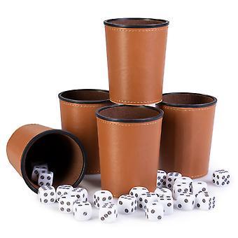 Napakymppi Peli Night, 25 Noppaa ja 5 Dice Cups, Ruskea/ Ruskea