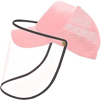 (Pack of 1) (Pink) Hat with Plastic Face Cover/Baseball Cap with Face Shield Anti-Saliva Eye Protective Sun Protection for Unisex Outdoor Sports Fishing
