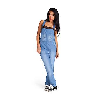 Lightweight denim dungarees for women - blue