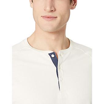 Goodthreads Men's Short-Sleeve Sueded Jersey Henley, White, Medium