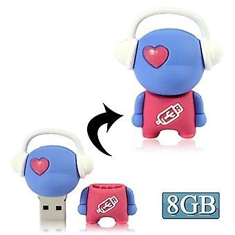Disque flash USB de dessin animé d'homme de musique, spécial pour des cadeaux de jour de Valentines (8Go)(bleu)