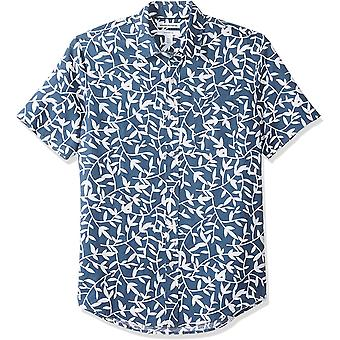 Essentials Men's Slim-Fit Short-Sleeve Print Linne skjorta, Navy Leaf, X...