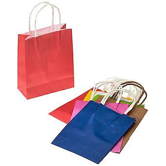Papirposer med snoet papir håndtag 12 X 5,5 X 15 Cm 10 stk assorterede farver For gaver Shopping parter