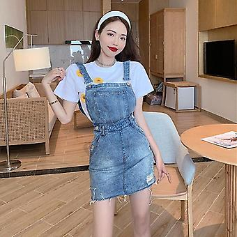 Bow Strap Denim Skirts Female Summer New Hole Zipper Overall Women Suspenders