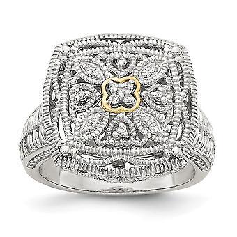 925 Sterling Silver Textured Polished Prong set Met 14k Diamond Ring Sieraden Geschenken voor vrouwen - Ring Size: 6 tot 8