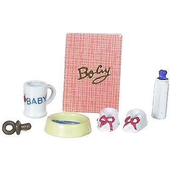 Panenky Dům Miniaturní Školka Příslušenství Set Baby & apos, s boty láhev pohár mísa figurína