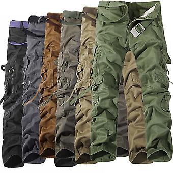 Military Tactical Pants Men Multi-pocket Washed Overalls Loose Cotton Male