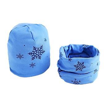 Plush Hat Scarf Set, Stars Print Neck Collar, Cotton