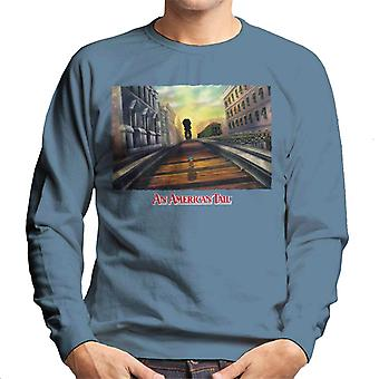 An American Tail Fievel Mousekewitz Walking On Train Track Men's Sweatshirt